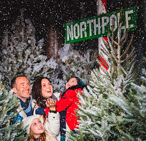 Family enjoying the North Pole Adventure at National Forest Adventure Farm