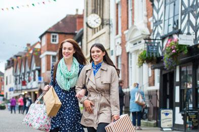 ladies with shopping bags in Lichfield city centre