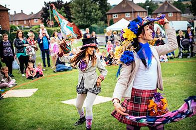 Folk dancers entertain the crowds at one of Appetite's Arts events in Stoke. Image courtesy Andrew Billington Photography