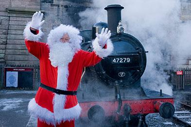 Santa with steam train at Churnet Valley Railway