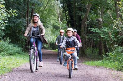 Family cycling on Churnet Valley Greenway