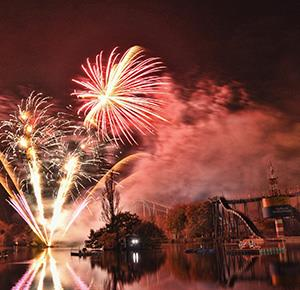 Fireworks light up the rides and night sky at Drayton Manor