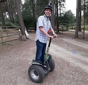 Richard prepares for his training session on the Segway