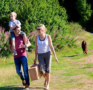 Family with picnic and dog at Kinver Edge (landscape)