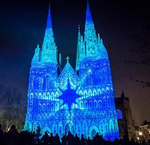 The spectacular Cathedral Illuminated at Lichfield Cathedral