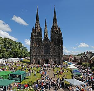Lichfield Cathedral on a sunny market day (landscape)