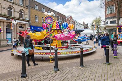Street entertainment including funfair at Lymelight Festival in Newcastle-under-Lyme