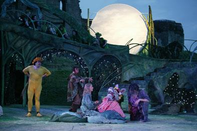 Stafford Festival Shakespeare outdoor performance at Stafford Castle at night