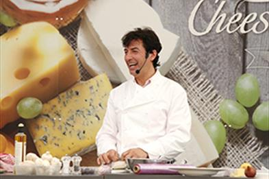 Celebrity chef Jean-Christophe Novelli gives a demonstration at the 2017 Stafford Cheese & Ale Festival
