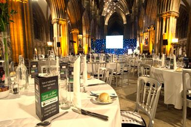 Table setting with menu from 2017 TOS Good Food Awards event at Lichfield Cathedral