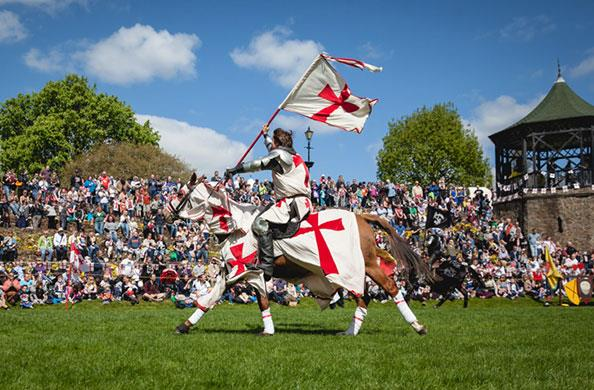 Jousting knight in full flow at Tamworth Castle for St George's Day