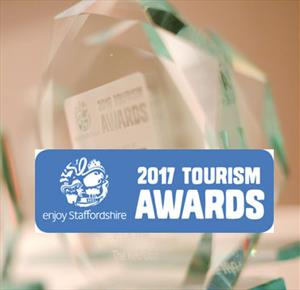 Trophies with 2017 Tourism Awards logo