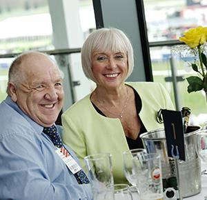 A couple enjoy a meal after racing at Uttoxeter Racecourse