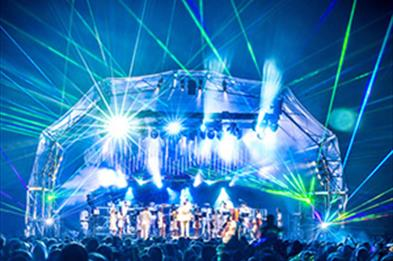 The spectacular laser show at Classic Ibiza