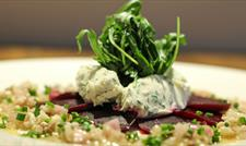 Enjoy a baked beetroot and creamed goats' cheese starter