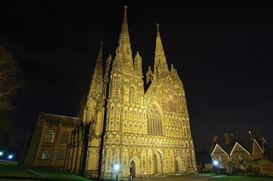 Lichfield Cathedral at night