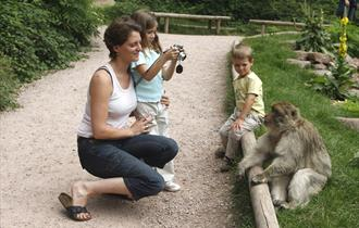 Mum with children with one of the monkeys