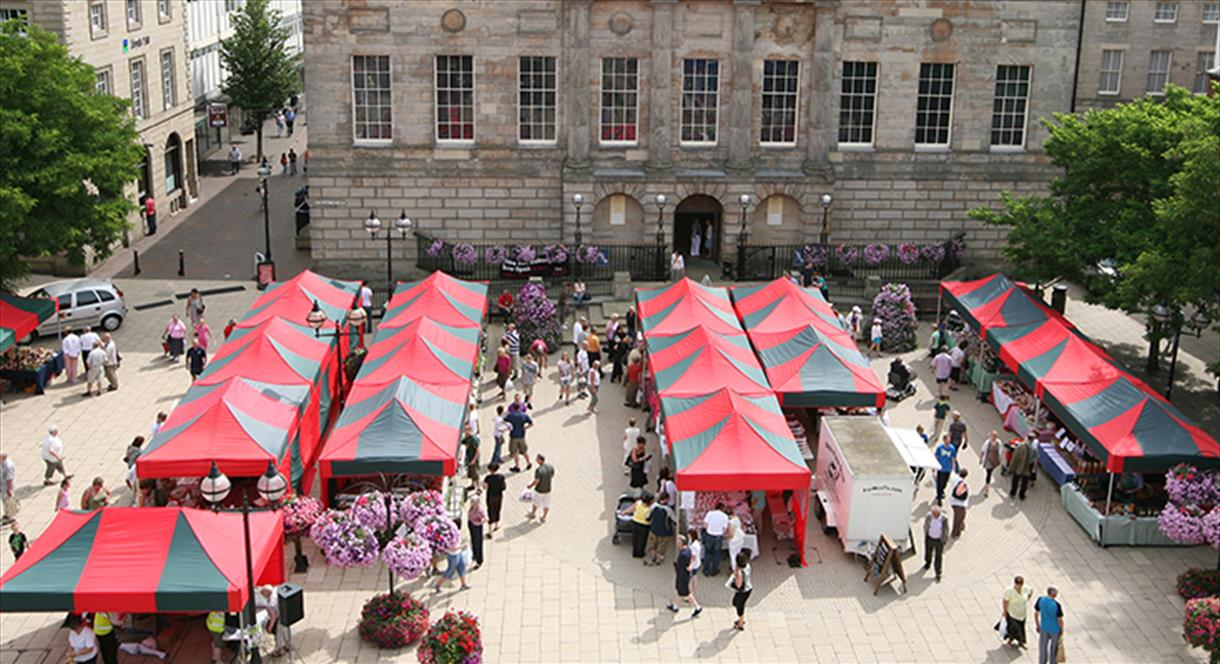 Farmers' market in the town centre of Stafford