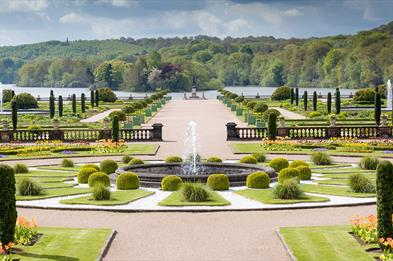 The Italian garden with lake beyond at the Trentham Estate, Stoke-on-Trent, Staffordshire.